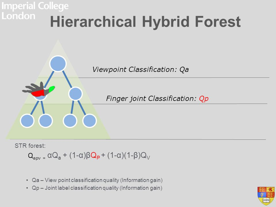 Hierarchical Hybrid Forest STR forest: Qa – View point classification quality (Information gain) Qp – Joint label classification quality (Information