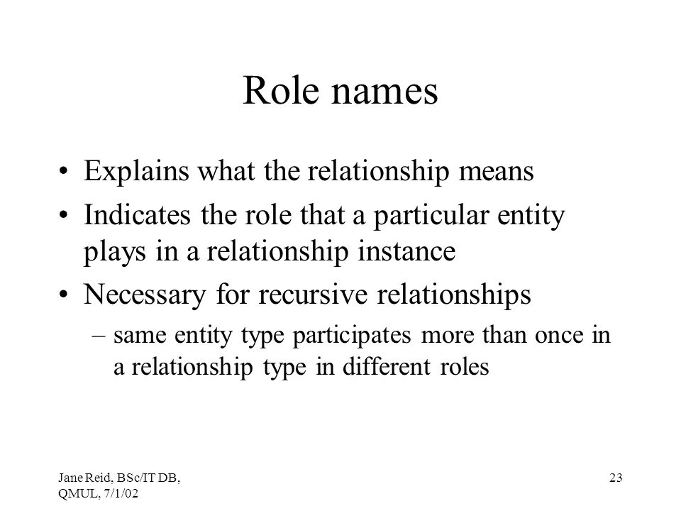 Jane Reid, BSc/IT DB, QMUL, 7/1/02 23 Role names Explains what the relationship means Indicates the role that a particular entity plays in a relations