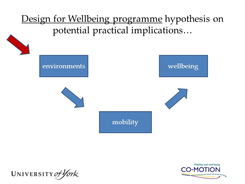 Design for Wellbeing programme hypothesis on potential practical implications… environmentswellbeing mobility