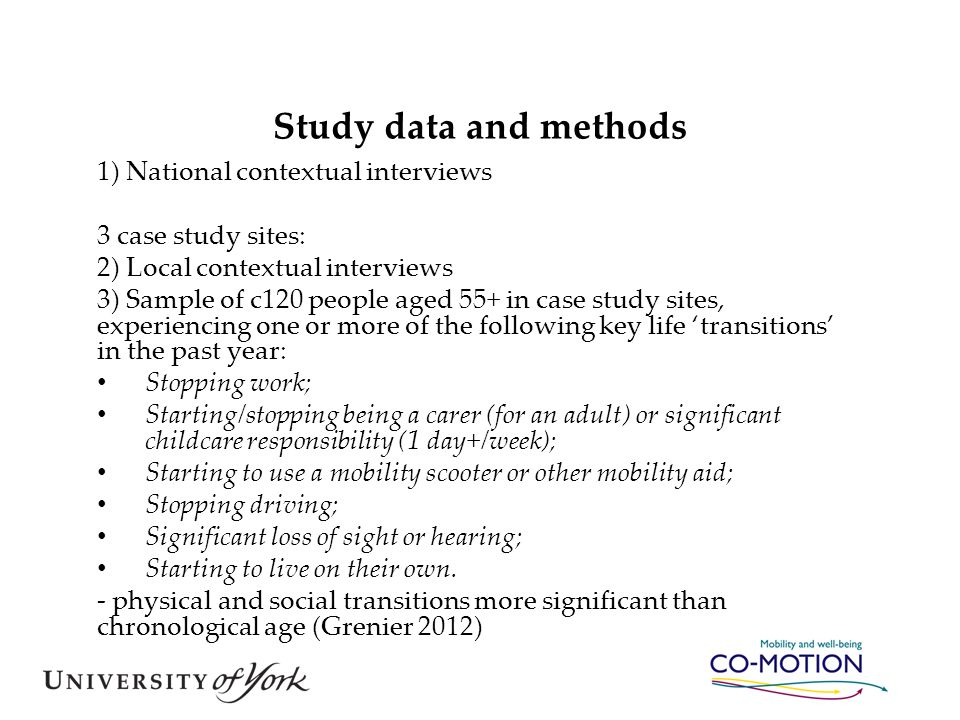 Study data and methods 1) National contextual interviews 3 case study sites: 2) Local contextual interviews 3) Sample of c120 people aged 55+ in case