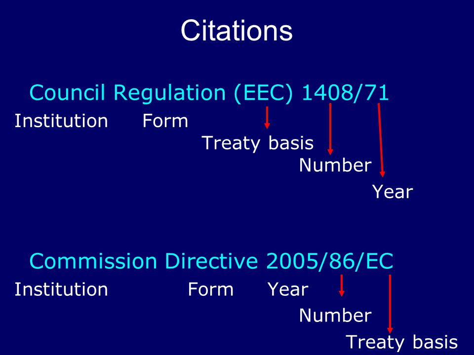 Commission Directive 2005/86/EC Institution Form Year Number Treaty basis Citations Council Regulation (EEC) 1408/71 Institution Form Treaty basis Number Year