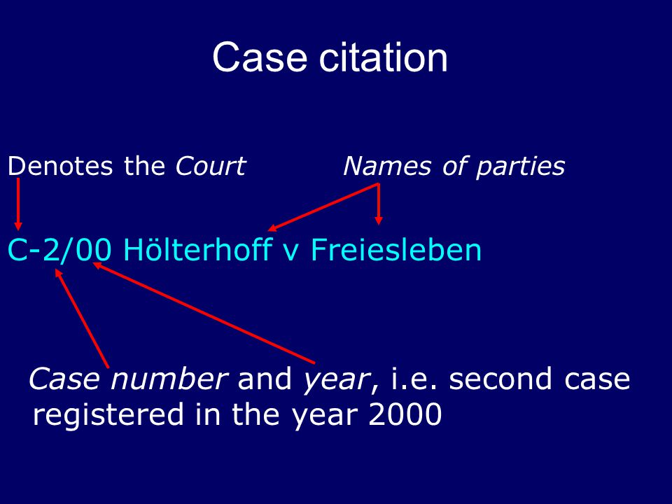 Case citation Denotes the CourtNames of parties C-2/00 Hölterhoff v Freiesleben Case number and year, i.e.