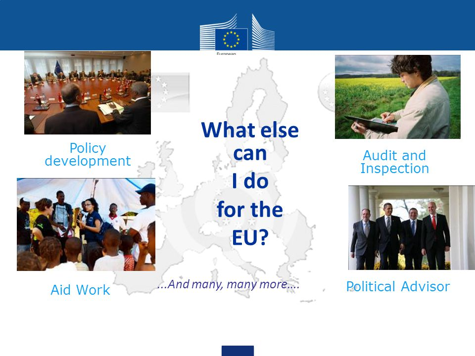 What else can I do for the EU. Political Advisor Aid Work...And many, many more….
