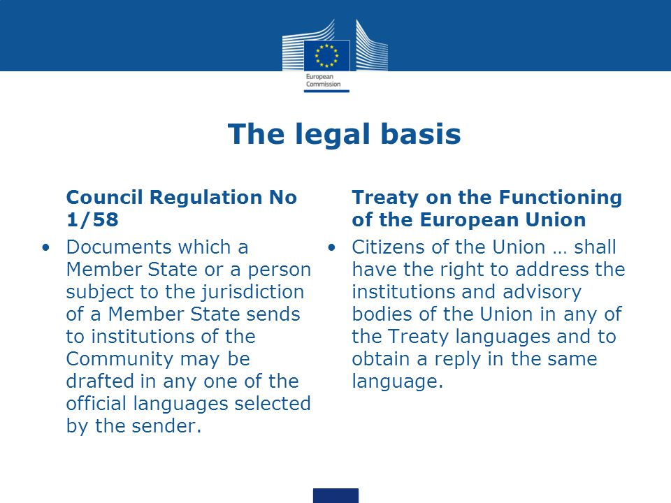 The legal basis Council Regulation No 1/58 Documents which a Member State or a person subject to the jurisdiction of a Member State sends to institutions of the Community may be drafted in any one of the official languages selected by the sender.