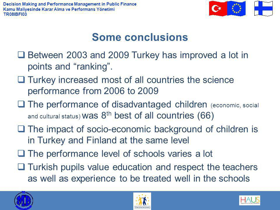 Decision Making and Performance Management in Public Finance Kamu Maliyesinde Karar Alma ve Performans Yönetimi TR08IBFI03  Between 2003 and 2009 Turkey has improved a lot in points and ranking .