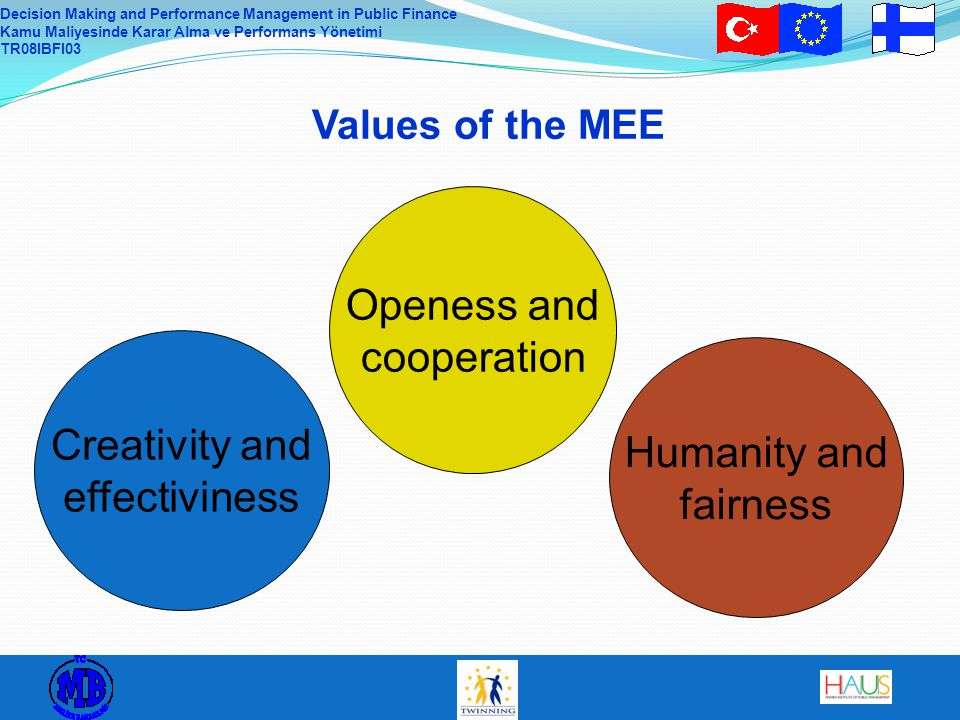 Decision Making and Performance Management in Public Finance Kamu Maliyesinde Karar Alma ve Performans Yönetimi TR08IBFI03 Values of the MEE Creativity and effectiveness The MEE is influential in Finnish society and in the country's operating environment.