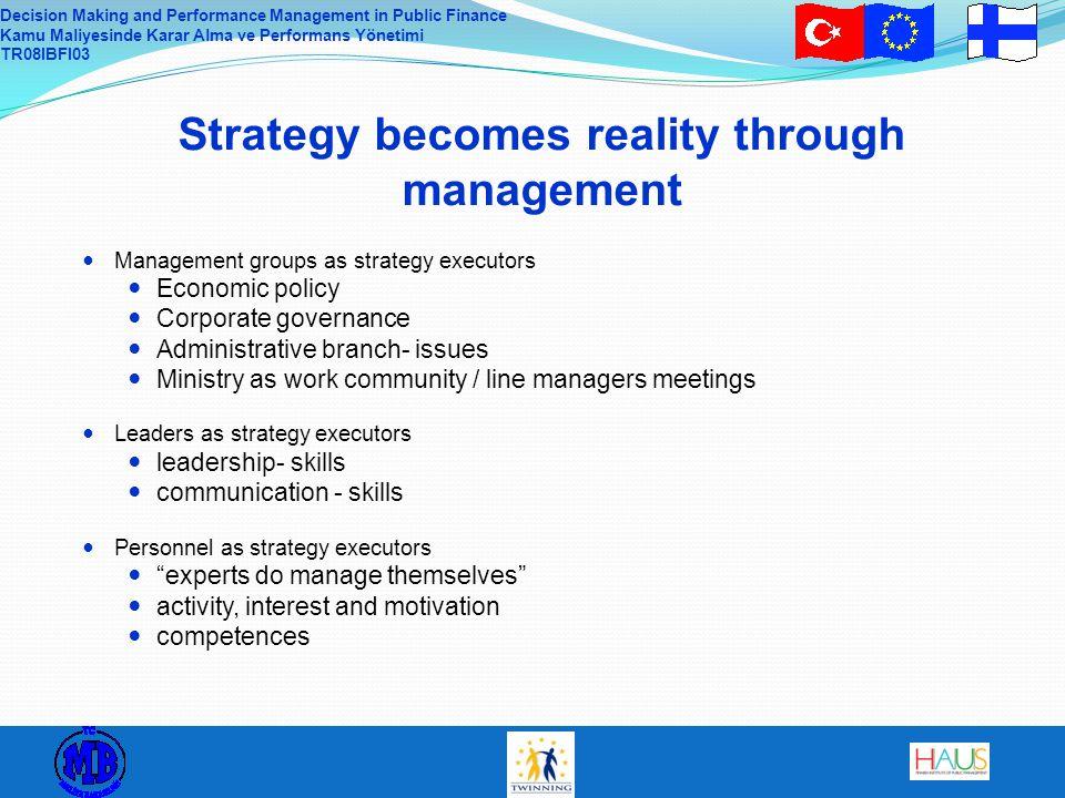 Decision Making and Performance Management in Public Finance Kamu Maliyesinde Karar Alma ve Performans Yönetimi TR08IBFI03 Management groups as strate