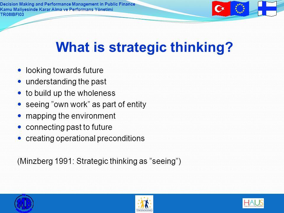 Decision Making and Performance Management in Public Finance Kamu Maliyesinde Karar Alma ve Performans Yönetimi TR08IBFI03 What is strategic thinking?
