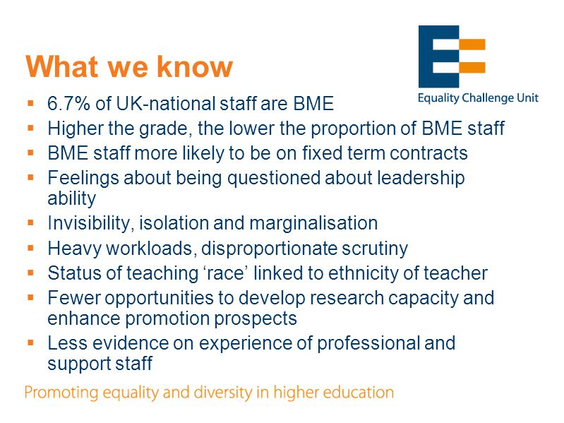 Progress on ECU research  4 phases in the research: 1.Survey of English HEIs on policies and practices and how they affect BME staff 2.Interviews with staff and middle managers at 12 HEIs and an additional 4 focus groups 3.Case studies of 3 HEIs (interviews with senior staff, focus groups with other staff; developing initiative) 4.Data analysis and further development of initiatives Outcome: better understanding of experiences and initiatives that the sector can use to improve the experience of BME staff.