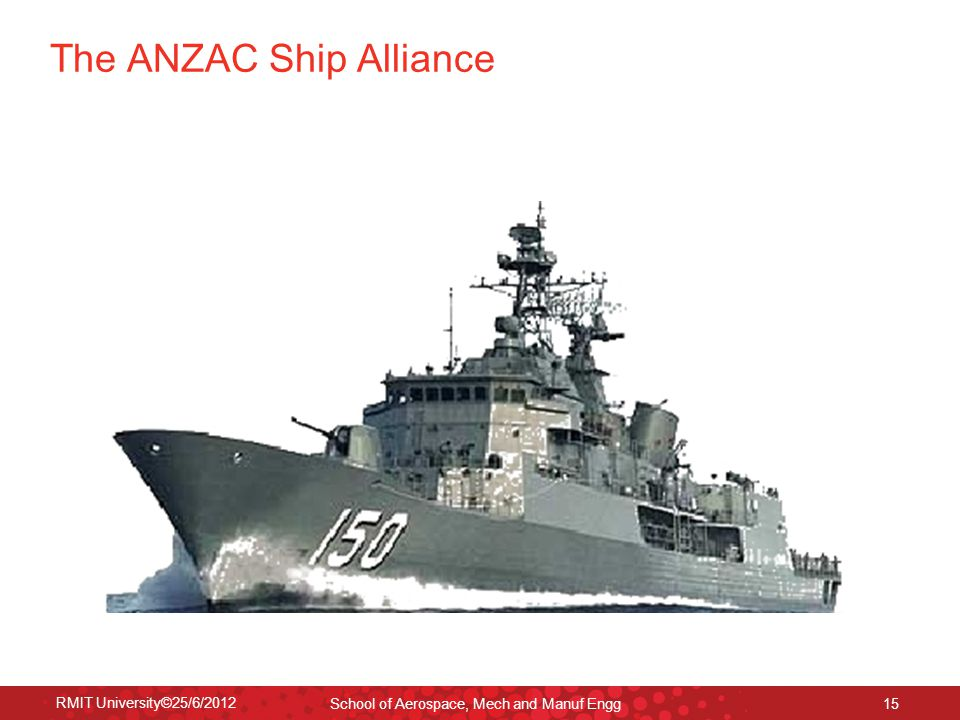 RMIT University©25/6/2012 School of Aerospace, Mech and Manuf Engg 15 The ANZAC Ship Alliance