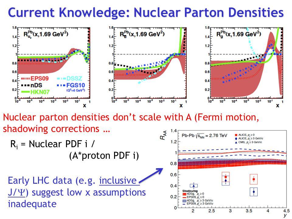 Current Knowledge: Nuclear Parton Densities R i = Nuclear PDF i / (A*proton PDF i) Early LHC data (e.g.