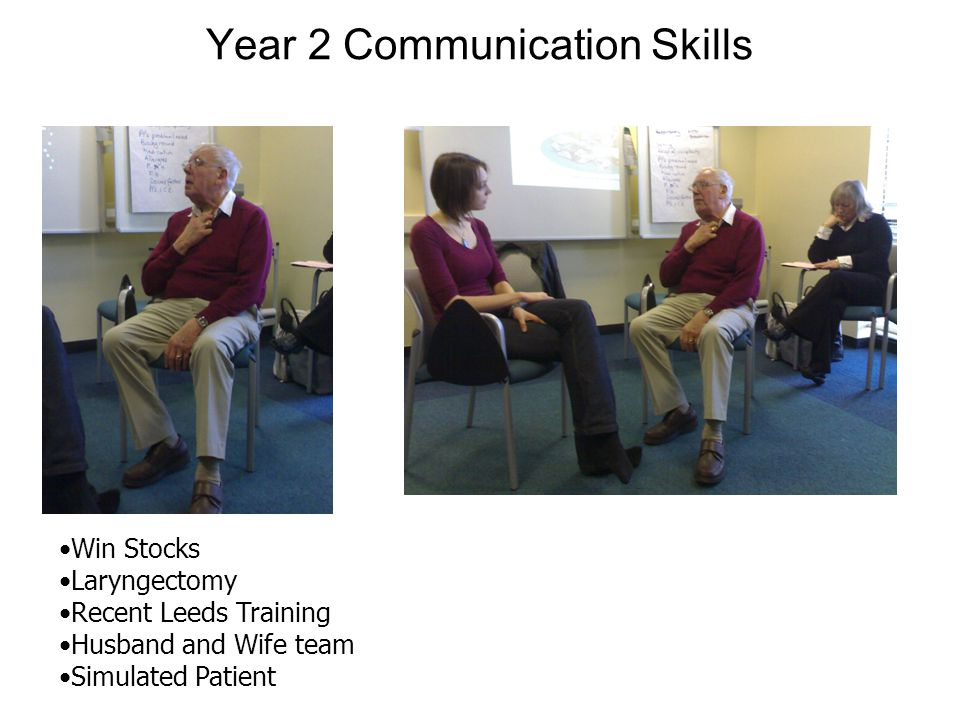 Year 2 Communication Skills Win Stocks Laryngectomy Recent Leeds Training Husband and Wife team Simulated Patient
