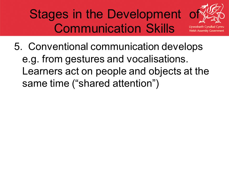 Stages in the Development of Communication Skills 5. Conventional communication develops e.g. from gestures and vocalisations. Learners act on people