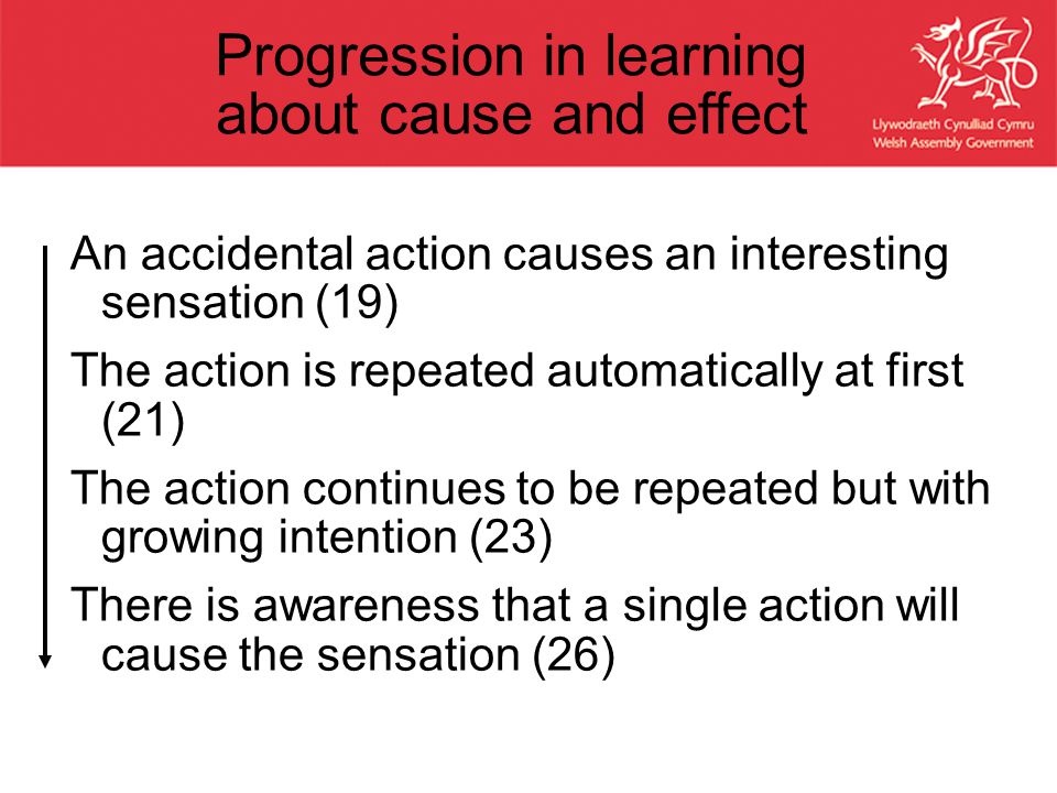 An accidental action causes an interesting sensation (19) The action is repeated automatically at first (21) The action continues to be repeated but w