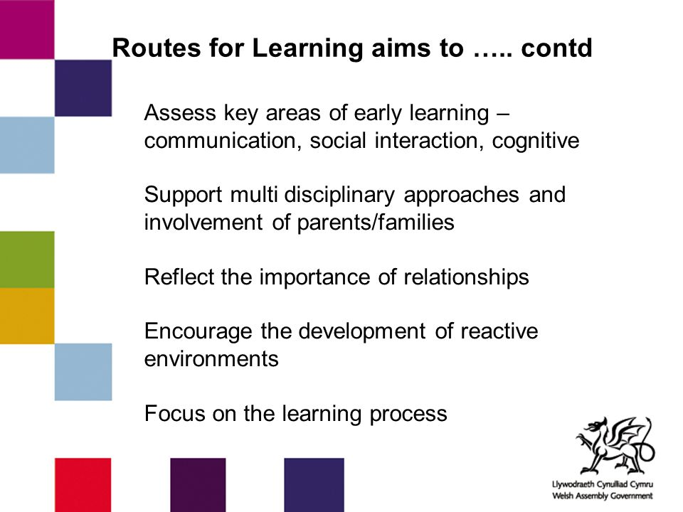Routes for Learning aims to ….. contd Assess key areas of early learning – communication, social interaction, cognitive Support multi disciplinary app