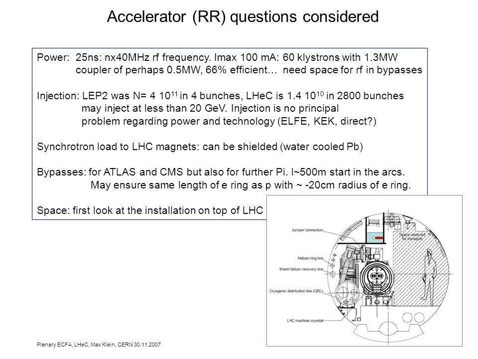 Plenary ECFA, LHeC, Max Klein, CERN Accelerator (RR) questions considered Power: 25ns: nx40MHz rf frequency.