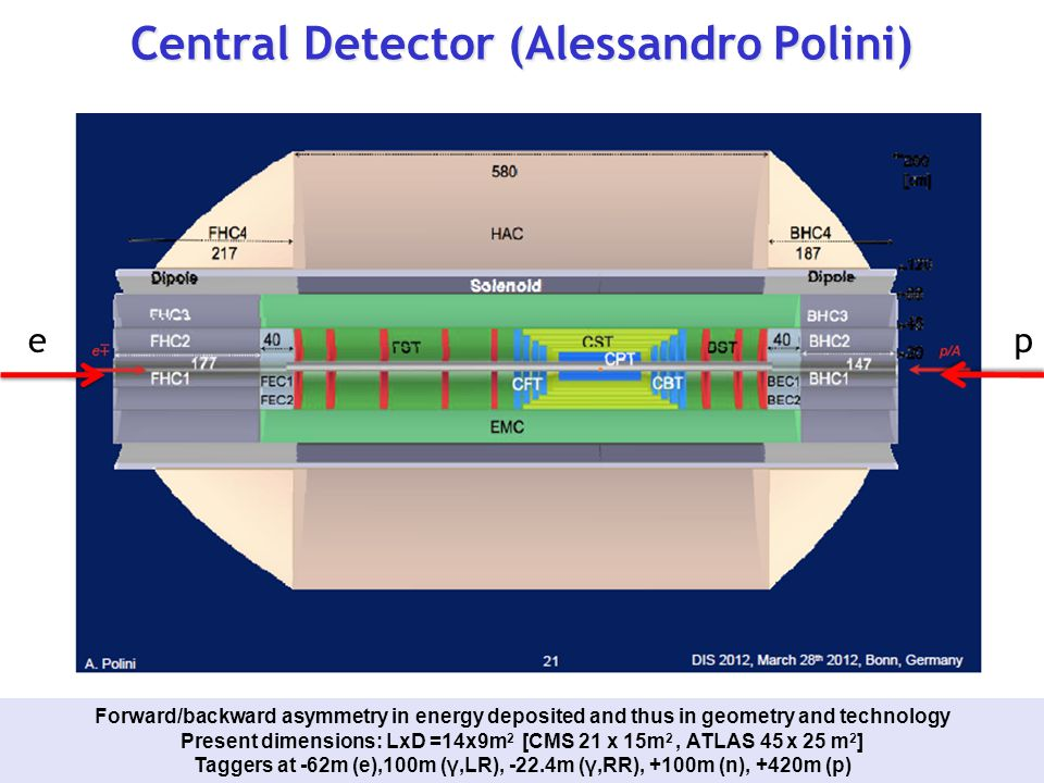 Central Detector (Alessandro Polini) Forward/backward asymmetry in energy deposited and thus in geometry and technology Present dimensions: LxD =14x9m 2 [CMS 21 x 15m 2, ATLAS 45 x 25 m 2 ] Taggers at -62m (e),100m (γ,LR), -22.4m (γ,RR), +100m (n), +420m (p) ep