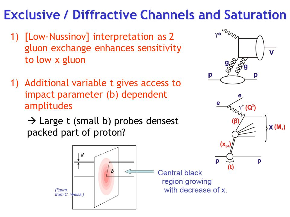 Exclusive / Diffractive Channels and Saturation 1)[Low-Nussinov] interpretation as 2 gluon exchange enhances sensitivity to low x gluon 1)Additional variable t gives access to impact parameter (b) dependent amplitudes  Large t (small b) probes densest packed part of proton