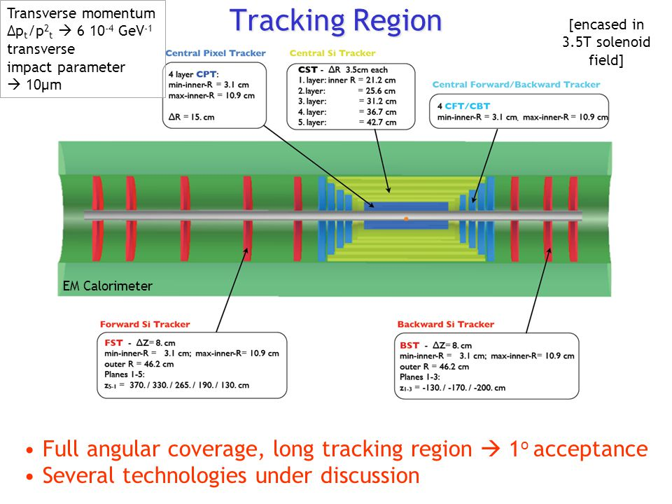 Tracking Region Full angular coverage, long tracking region  1 o acceptance Several technologies under discussion EM Calorimeter [encased in 3.5T sol
