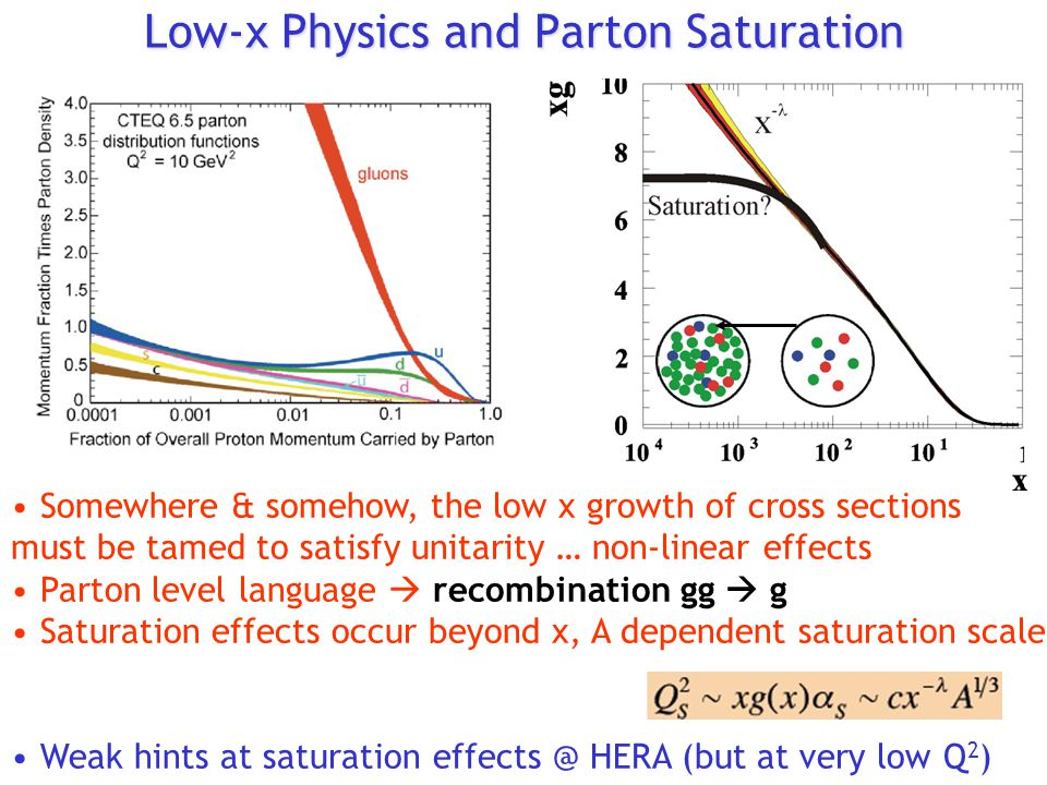 Low-x Physics and Parton Saturation Somewhere & somehow, the low x growth of cross sections must be tamed to satisfy unitarity … non-linear effects Parton level language  recombination gg  g Saturation effects occur beyond x, A dependent saturation scale Weak hints at saturation effects @ HERA (but at very low Q 2 )