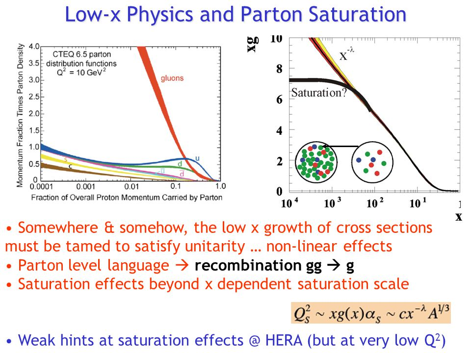 Low-x Physics and Parton Saturation Somewhere & somehow, the low x growth of cross sections must be tamed to satisfy unitarity … non-linear effects Parton level language  recombination gg  g Saturation effects beyond x dependent saturation scale Weak hints at saturation effects @ HERA (but at very low Q 2 )