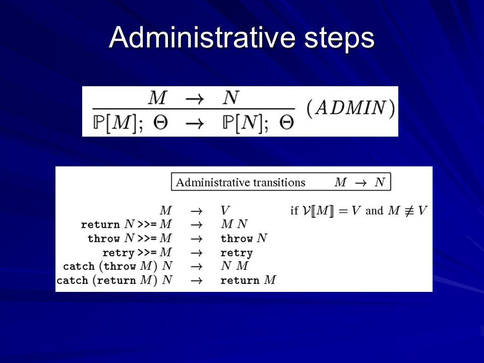 Administrative steps