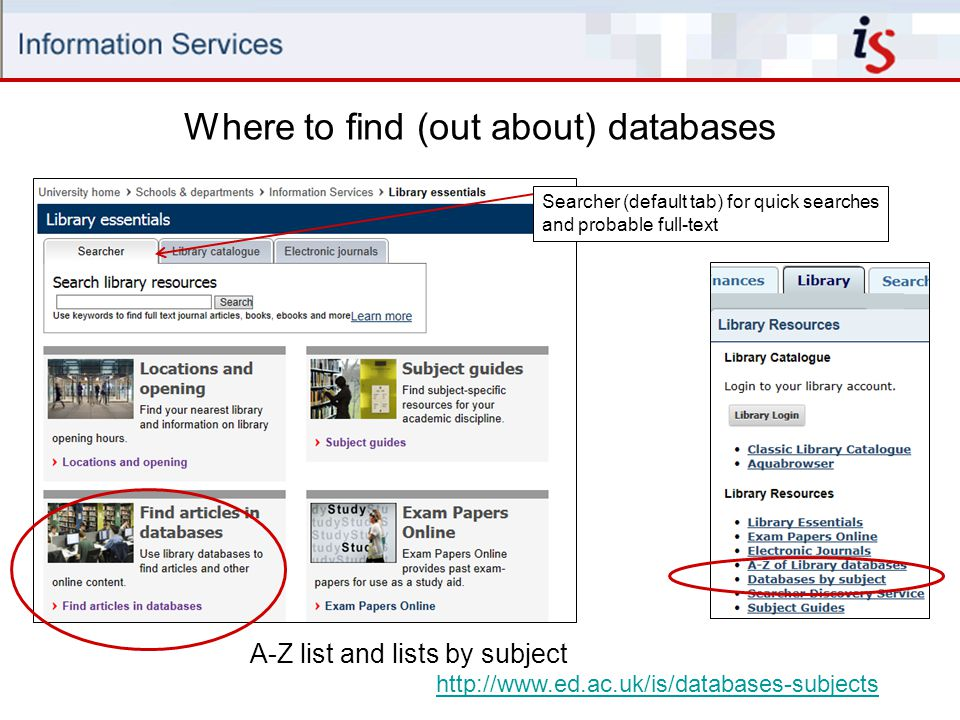 Where to find (out about) databases A-Z list and lists by subject http://www.ed.ac.uk/is/databases-subjects Searcher (default tab) for quick searches and probable full-text