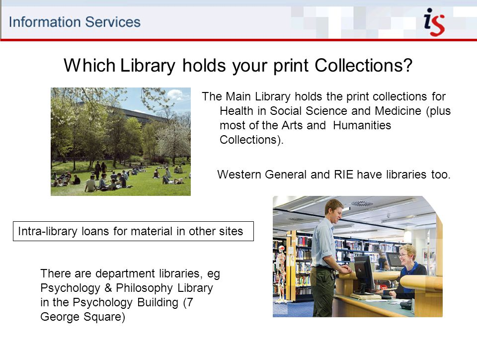 The Main Library holds the print collections for Health in Social Science and Medicine (plus most of the Arts and Humanities Collections).
