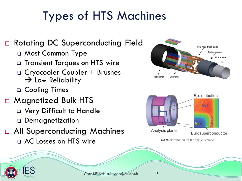 Ozan KEYSAN 8 Types of HTS Machines  Rotating DC Superconducting Field  Most Common Type  Transient Torques on HTS wire  Cryocooler Coupler + Brushes  Low Reliability  Cooling Times  Magnetized Bulk HTS  Very Difficult to Handle  Demagnetization  All Superconducting Machines  AC Losses on HTS wire
