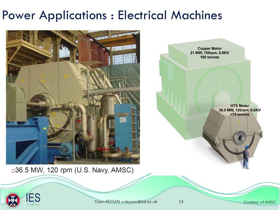 Ozan KEYSAN o.keysan@ed.ac.uk 13 Power Applications : Electrical Machines  36.5 MW, 120 rpm (U.S.