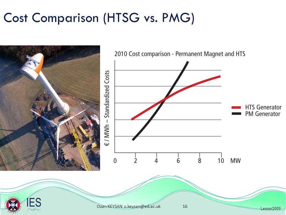 Ozan KEYSAN o.keysan@ed.ac.uk 16 Cost Comparison (HTSG vs. PMG) Lesser2009