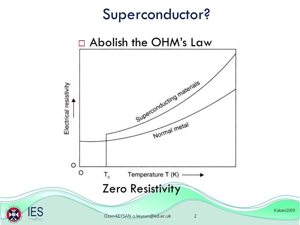 Ozan KEYSAN o.keysan@ed.ac.uk 2 Superconductor  Abolish the OHM's Law Kakani2009 Zero Resistivity