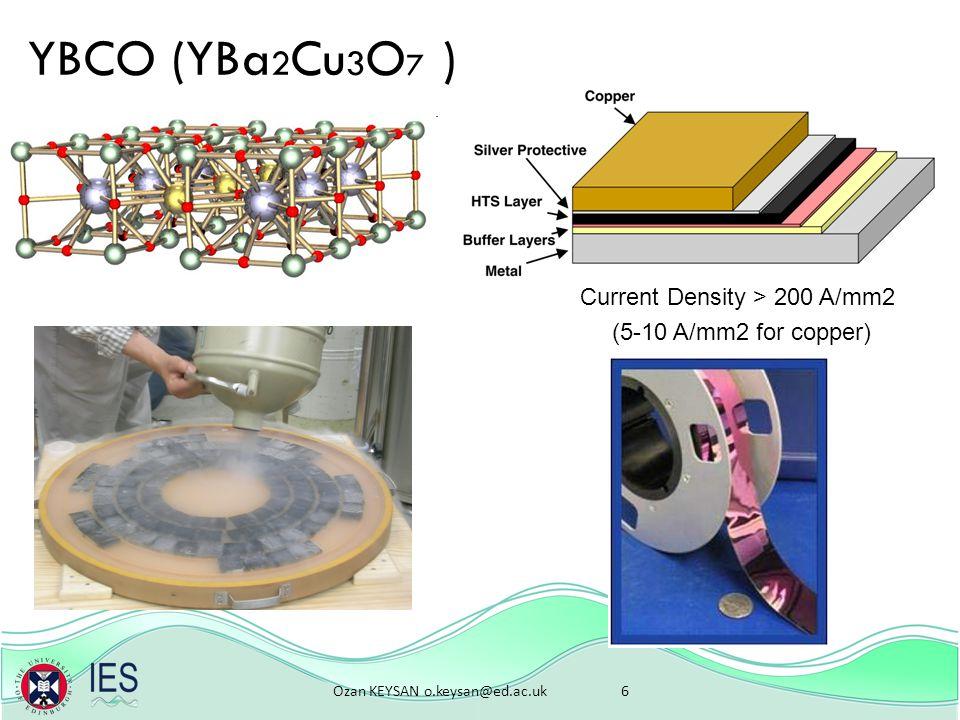 Ozan KEYSAN o.keysan@ed.ac.uk 6 YBCO (YBa 2 Cu 3 O 7 ) Current Density > 200 A/mm2 (5-10 A/mm2 for copper)