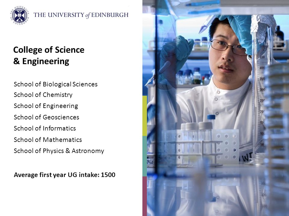 College of Science & Engineering School of Biological Sciences School of Chemistry School of Engineering School of Geosciences School of Informatics School of Mathematics School of Physics & Astronomy Average first year UG intake: 1500