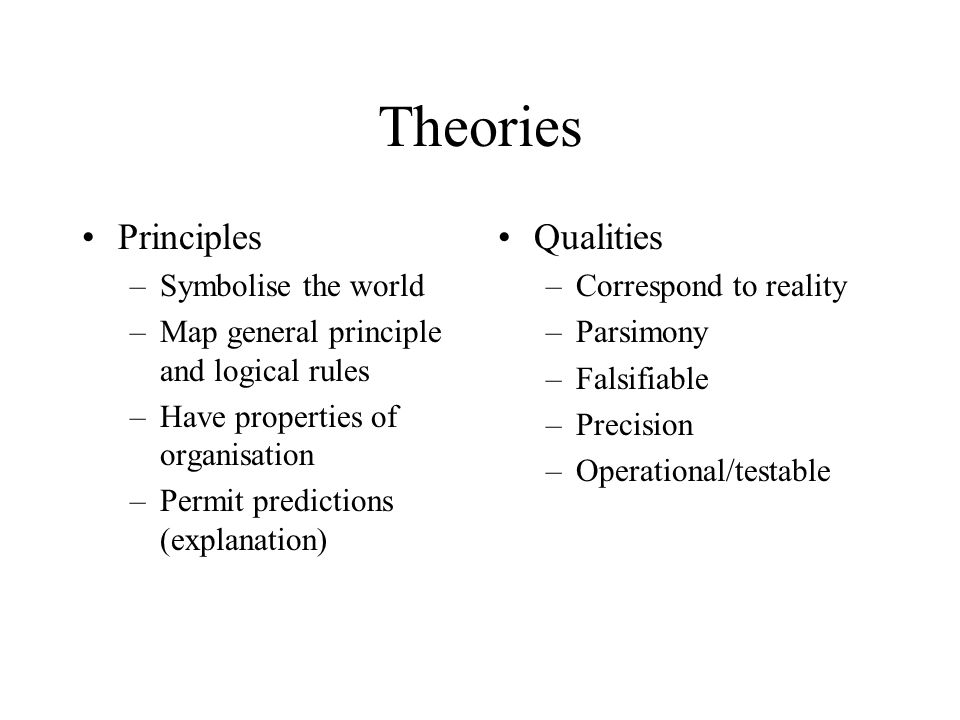 Theories Principles –Symbolise the world –Map general principle and logical rules –Have properties of organisation –Permit predictions (explanation) Qualities –Correspond to reality –Parsimony –Falsifiable –Precision –Operational/testable