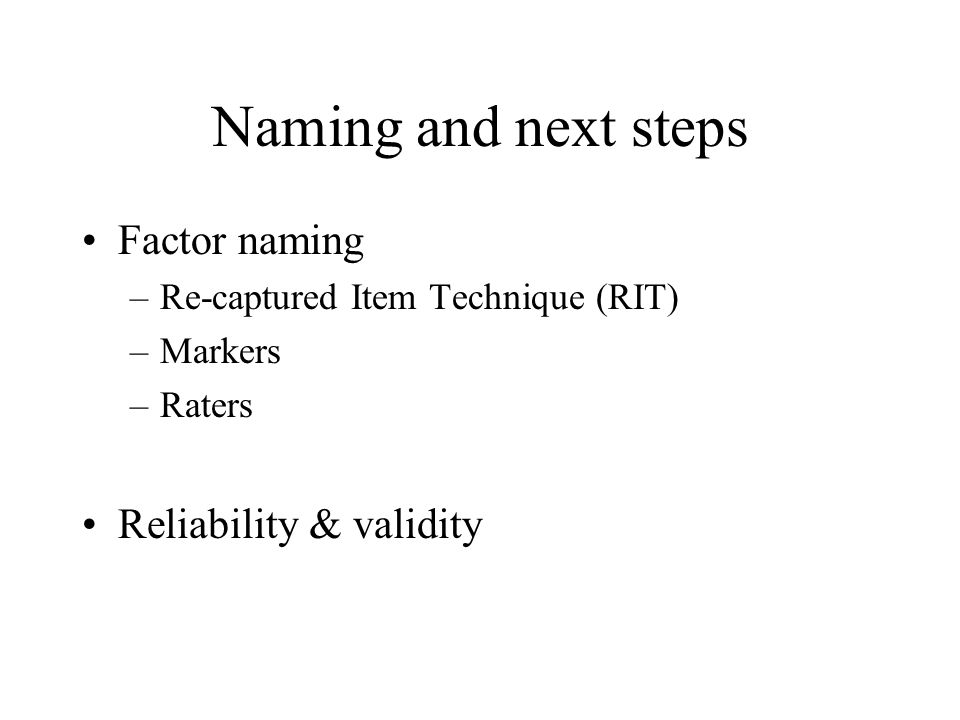Naming and next steps Factor naming –Re-captured Item Technique (RIT) –Markers –Raters Reliability & validity