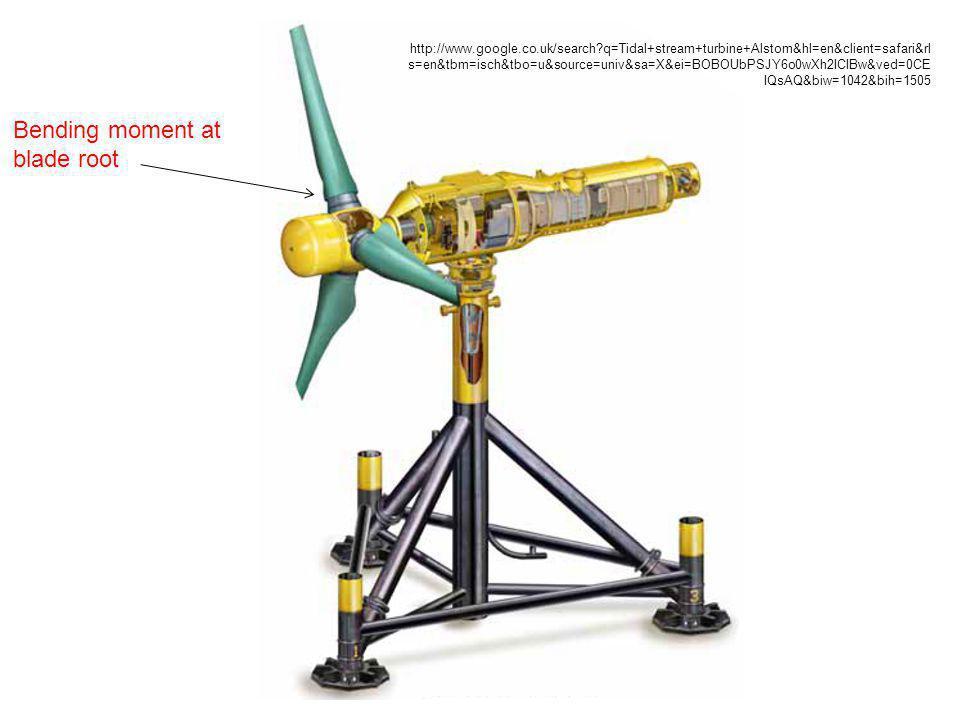 Bending moment at blade root http://www.google.co.uk/search?q=Tidal+stream+turbine+Alstom&hl=en&client=safari&rl s=en&tbm=isch&tbo=u&source=univ&sa=X&ei=BOBOUbPSJY6o0wXh2ICIBw&ved=0CE IQsAQ&biw=1042&bih=1505