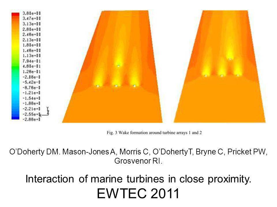 O'Doherty DM. Mason-Jones A, Morris C, O'DohertyT, Bryne C, Pricket PW, Grosvenor RI. Interaction of marine turbines in close proximity. EWTEC 2011