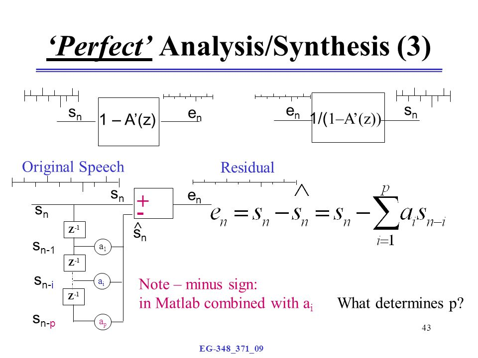 EG-348_371_09 43 'Perfect' Analysis/Synthesis (3) 1 – A'(z) snsn enen 1/( 1–A'(z)) enen snsn snsn enen Z -1 a1a1 aiai apap snsn  snsn s n-1 s n-i s n