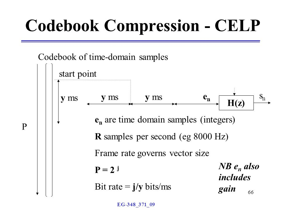 EG-348_371_09 66 P Codebook Compression - CELP H(z) snsn y ms enen e n are time domain samples (integers) R samples per second (eg 8000 Hz) Frame rate