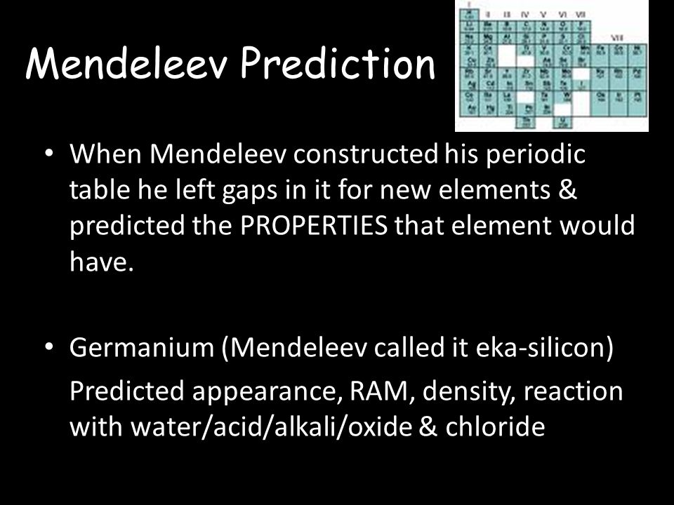 Mendeleev Prediction When Mendeleev constructed his periodic table he left gaps in it for new elements & predicted the PROPERTIES that element would have.
