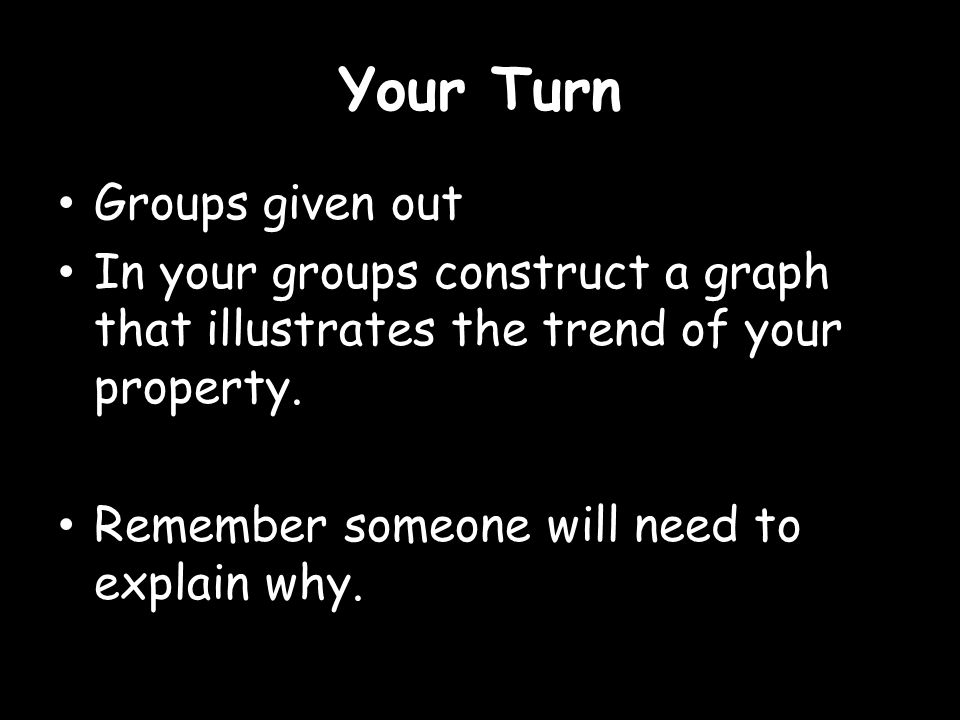 Your Turn Groups given out In your groups construct a graph that illustrates the trend of your property.