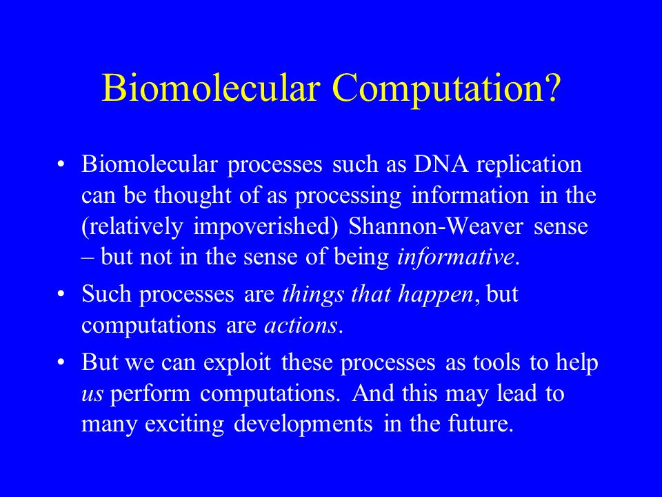 Biomolecular Computation.