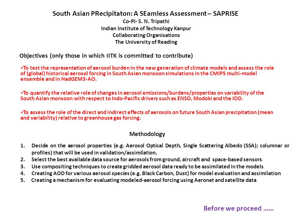 Objectives (only those in which IITK is committed to contribute) To test the representation of aerosol burden in the new generation of climate models and assess the role of (global) historical aerosol forcing in South Asian monsoon simulations in the CMIP5 multi-model ensemble and in HadGEM3-AO.