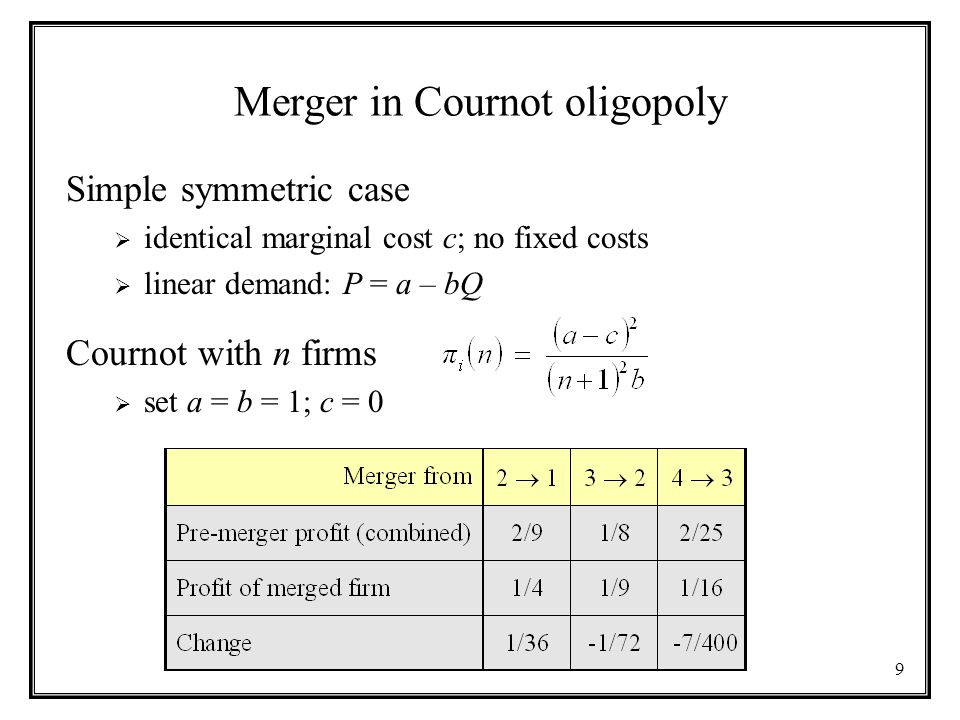9 Merger in Cournot oligopoly Simple symmetric case  identical marginal cost c; no fixed costs  linear demand: P = a – bQ Cournot with n firms  set