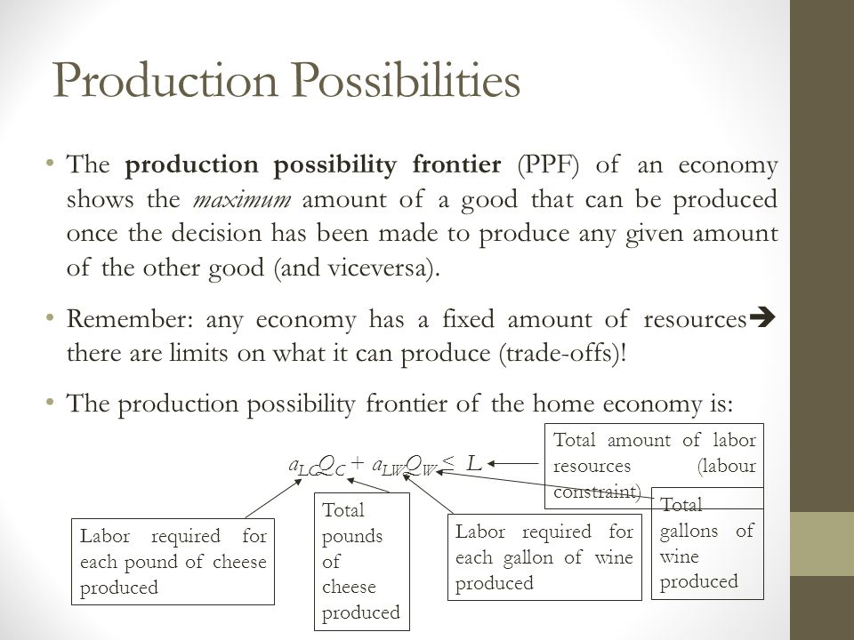 Production Possibilities The production possibility frontier (PPF) of an economy shows the maximum amount of a good that can be produced once the deci