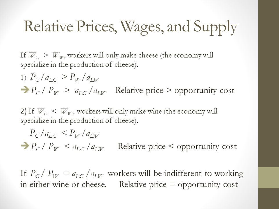 Relative Prices, Wages, and Supply If W C > W W, workers will only make cheese (the economy will specialize in the production of cheese). 1) P C /a LC