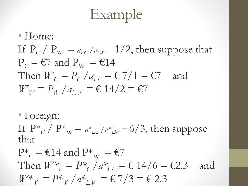 Example Home: If P C / P W = a LC /a LW = 1/2, then suppose that P C = €7 and P W = €14 Then W C = P C /a LC = € 7/1 = €7 and W W = P W /a LW = € 14/2