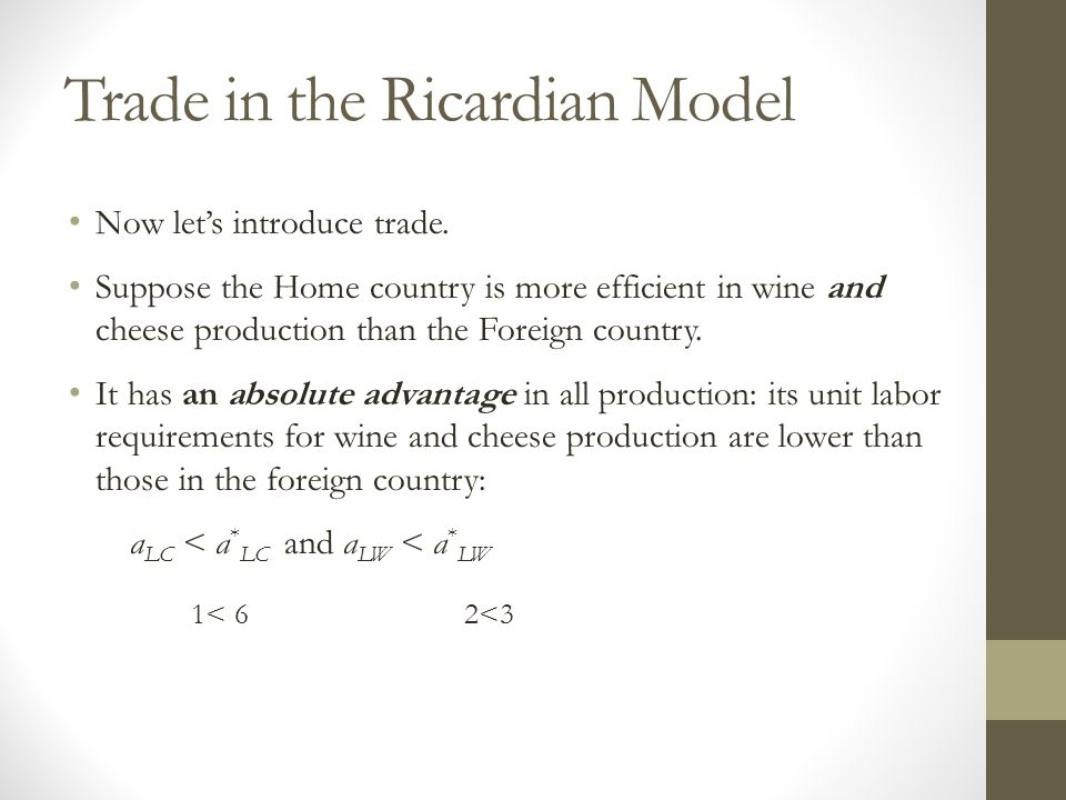 Trade in the Ricardian Model Now let's introduce trade.