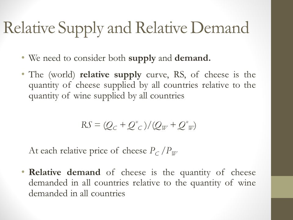 Relative Supply and Relative Demand We need to consider both supply and demand.